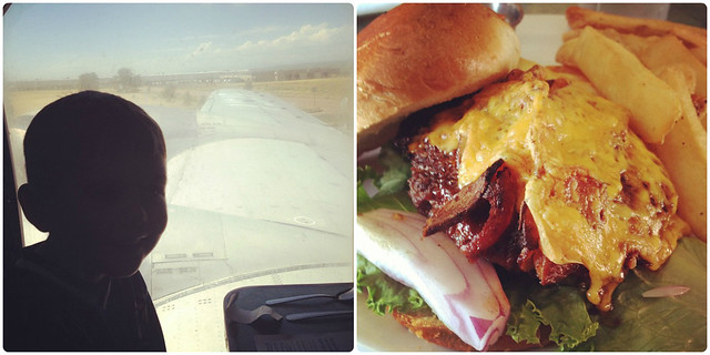 View from The Airplane Restaurant in Colorado Springs; Cheeseburger with bacon, lettuce, red onion, and fries on the side