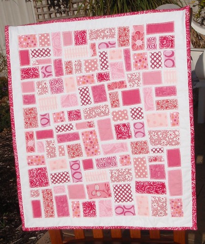 Pink Ticker Tape Doll Quilt - front