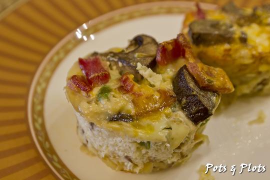 Potato Crusted Bacon Mushroom Asparagus Mini Quiches | Pots and Plots