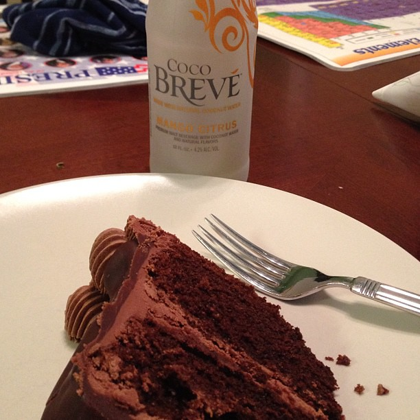 Happening now. 8:00 #photoadayaug chocolate cake and #cocobreve