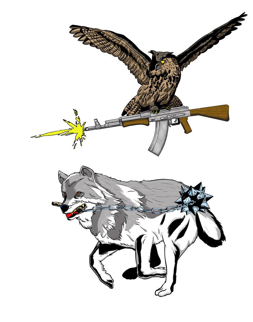 owl gun wolf