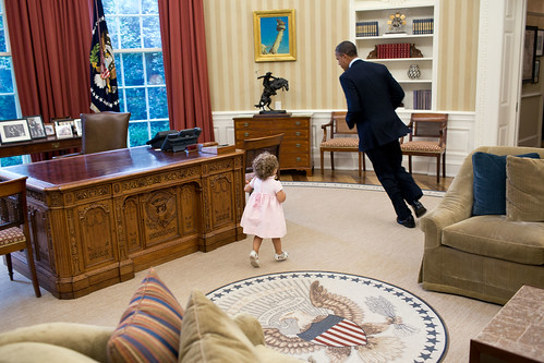 President Obama being chased by Sarah Froman