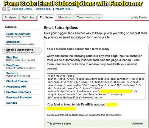 Form Code: Email Subscriptions with Feedburner