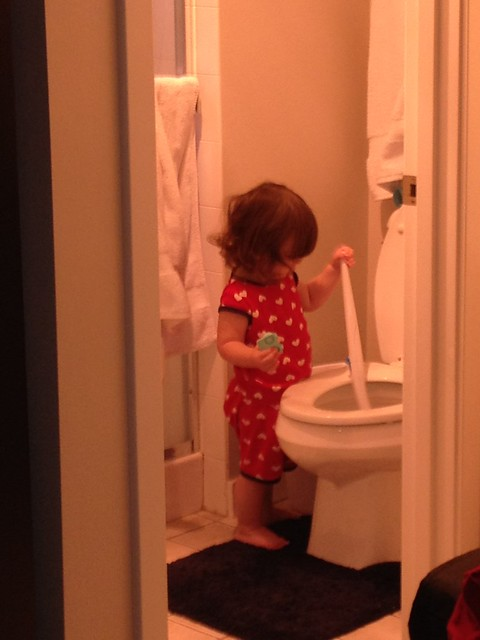 "Why, that is my daughter ""cleaning"" the toilet..."