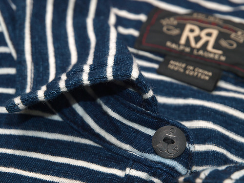 RRL / Indigo Striped Pocket Polo