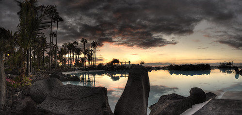 sunset panorama sun reflection tree spain rocks panoramic palm tenerife hdr puertodelacruze lagomartinez lakemartinez
