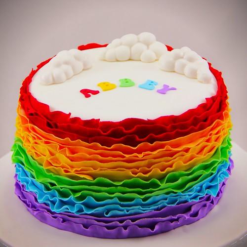 Cake Design Rainbow : Coco Jo Cake Design: Rainbow Ruffle Cake