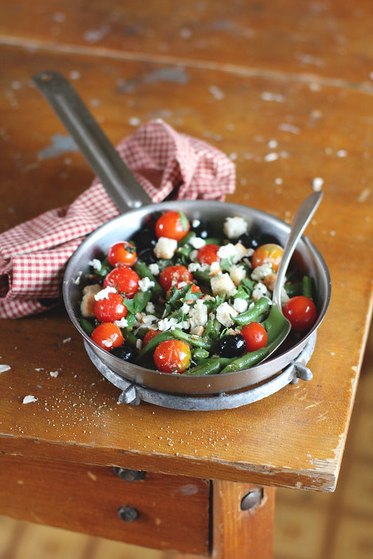 French Bean and Tomato Warm Salad with Feta