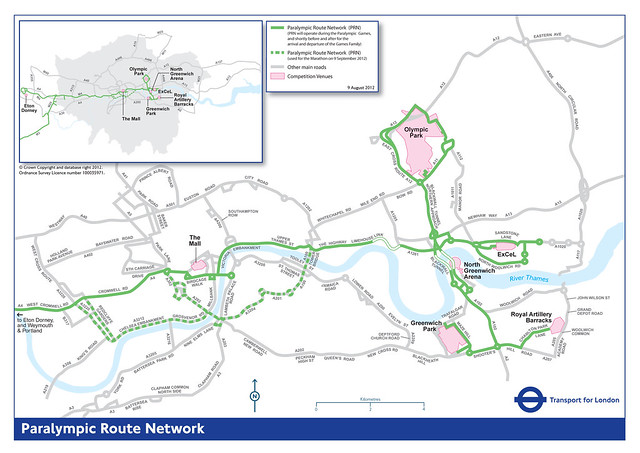 The Paralympic Route Network (PRN) map (source: TfL)