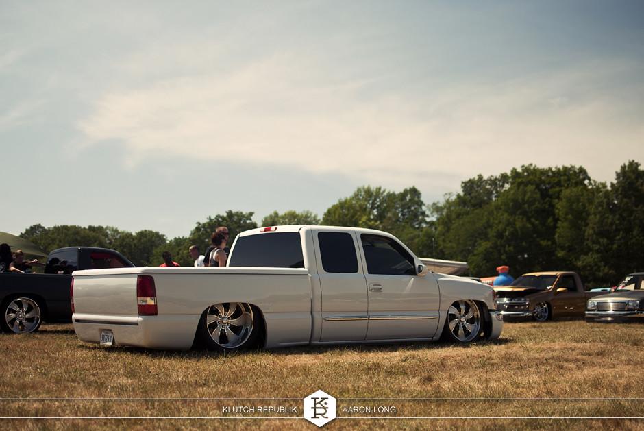 white bagged chevy silverado 1500 truck at camp n drag 2012 seen on klutch republik