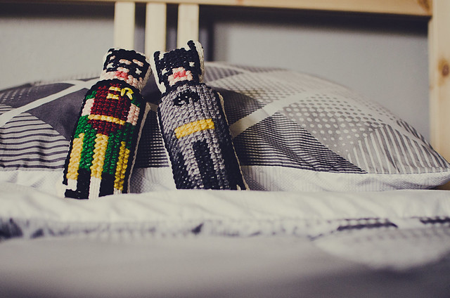cross-stitched superheroes