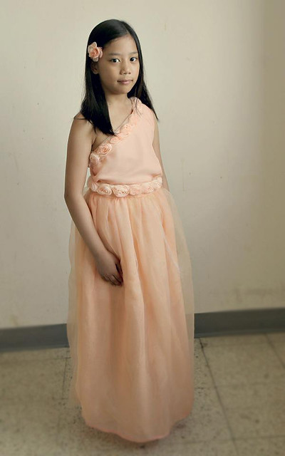 flower girl peach dress