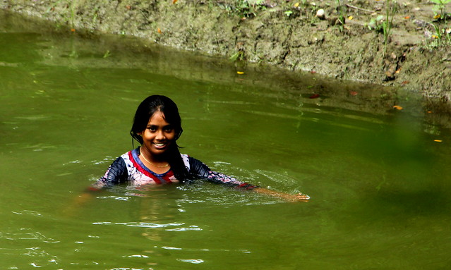 ~village life~ a village girl in the pond