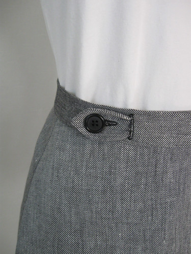 Wrap skirt button closeup