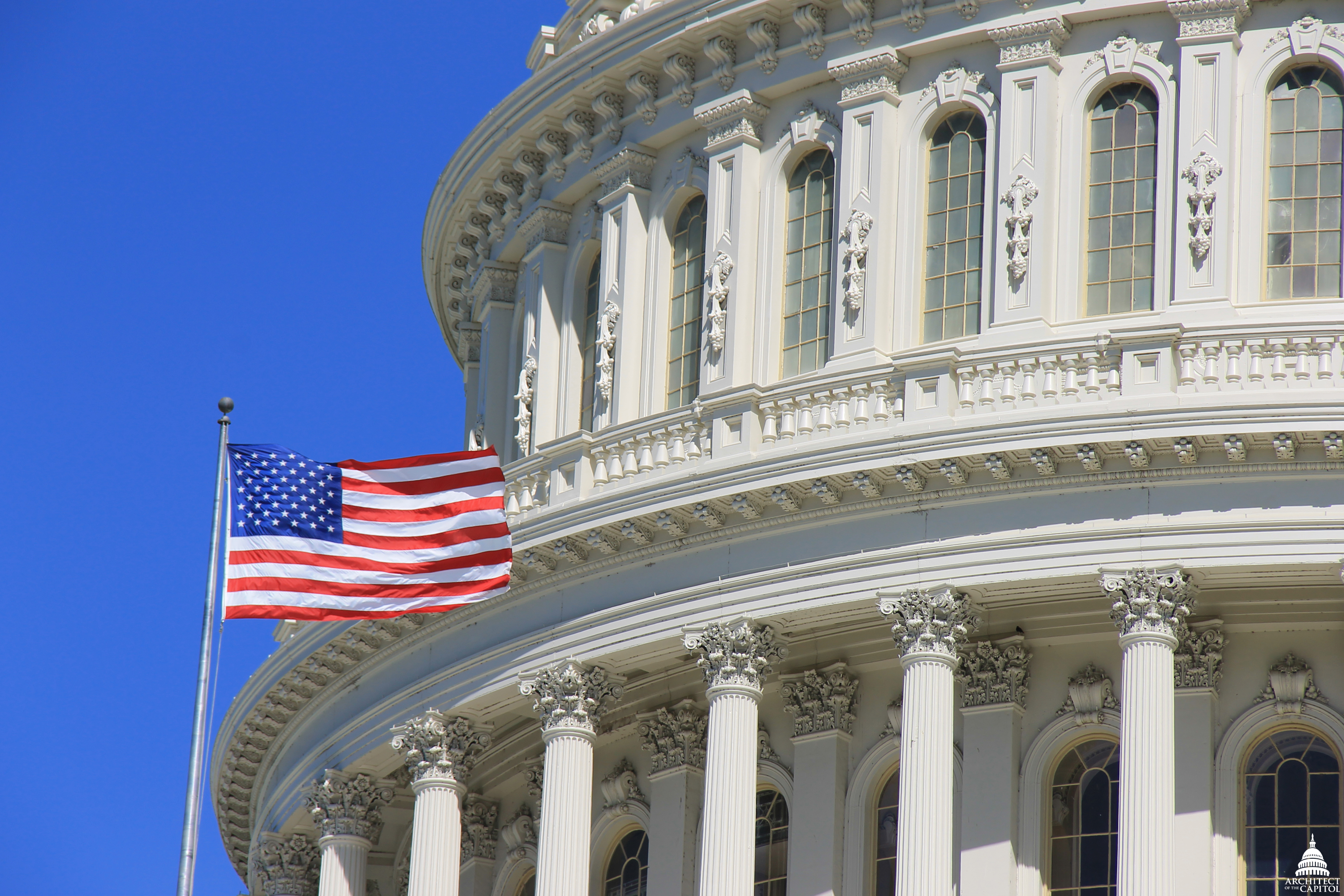 Flags Over The East And West Central Fronts Of The Capitol - Us congress building map