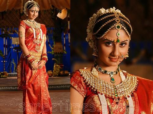 Bhanu-Shree-red-wedding-sari