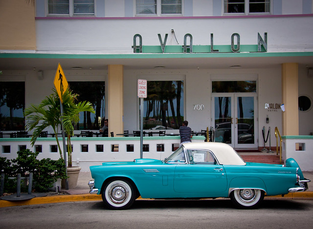Ford Thunderbird in front of the Avalon Hotel - South Beach, Miami FL