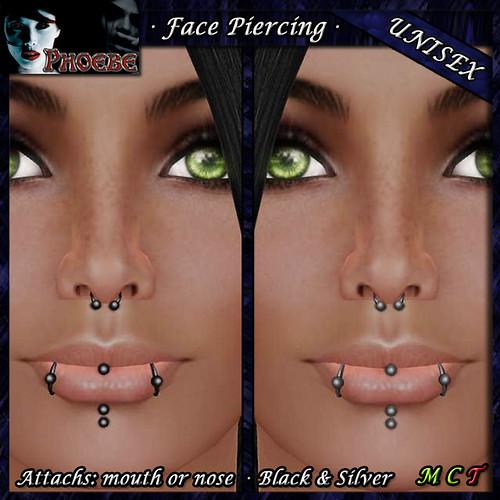 $55l ~ *P* Temptation Piercing ~ Black & Silver ~Unisex~