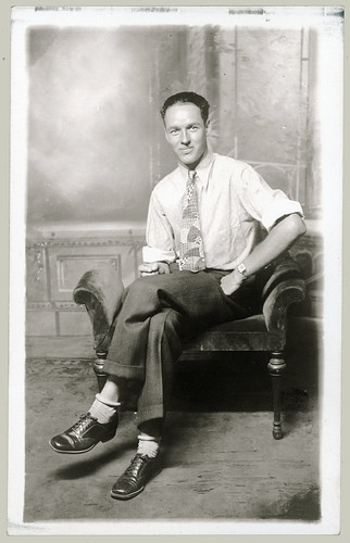 Man with rolled down socks.