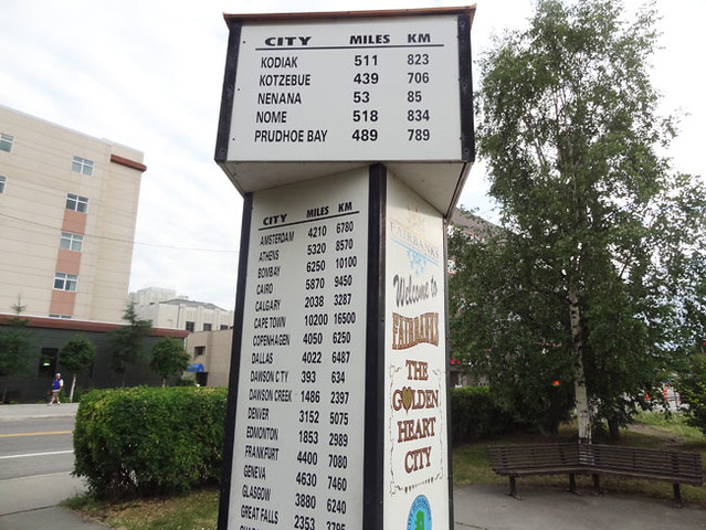 Fairbanks mileage sign