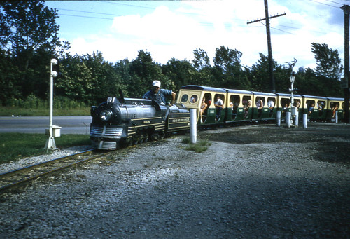 The Kiddieland Amusement Park train. Melrose Park Illinois. 1957. by Eddie from Chicago