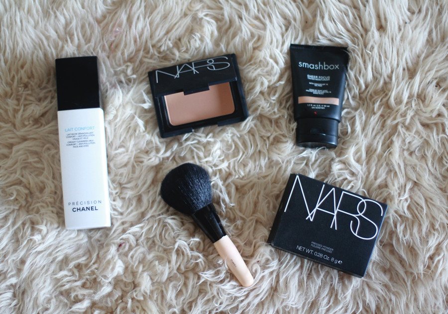 Chanel lait confort cleansing milk, Smashbox tinted moisturizer, NARS pressed powder, beauty makeup