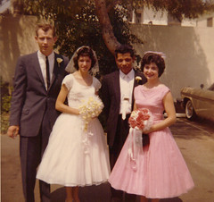 Bob and Charlotte  1960's wedding day  Pete Ruiz 3rd from left used to work for the Franciscan Sisters of the Sacred Heart at Queen of Angels Hospital in Los Angeles. CA