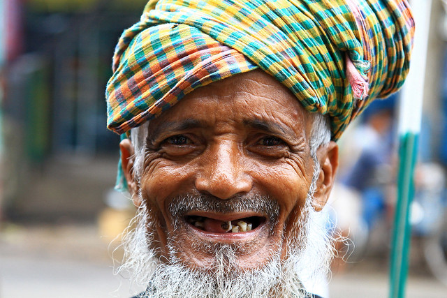 Portrait of a smiling man in Kolkata, India.