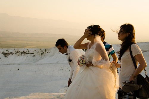 wedding sunset bride travertine pamukkale