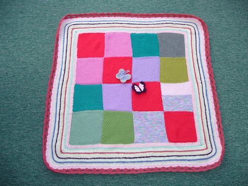 Thanks to the Craft Groups in the UK for sending in these Knitted squares and to Sally A for assembling this gorgeous blanket.