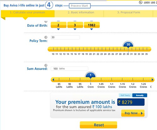Image of Aviva i-Life premium calculations for our 30-30-1 benchmark