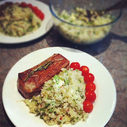 Loin of lamb, and cauliflower salad (fake couscous) with a tangerine dressing. #meal #lowcarb #healthy