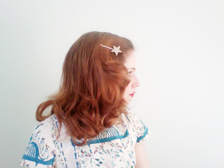 brushed out pin curls soft red curls glitter star clip