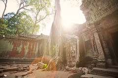 [Free Images] Architecture, Religious Buildings, Archaeological Sites, Angkor Wat, Landscape - Cambodia, Temple, World Heritage, Lens Flare ID:201208121200