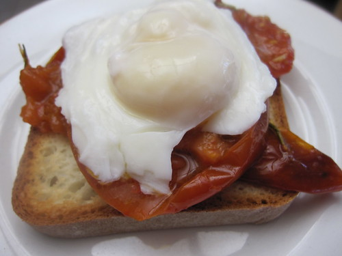 WITH POACHED EGGS