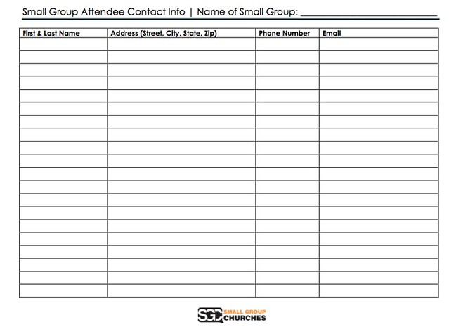 Small Group Contact Info Sheet
