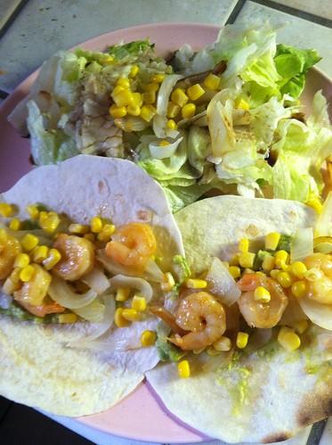 homemade shrimp tacos with side salad