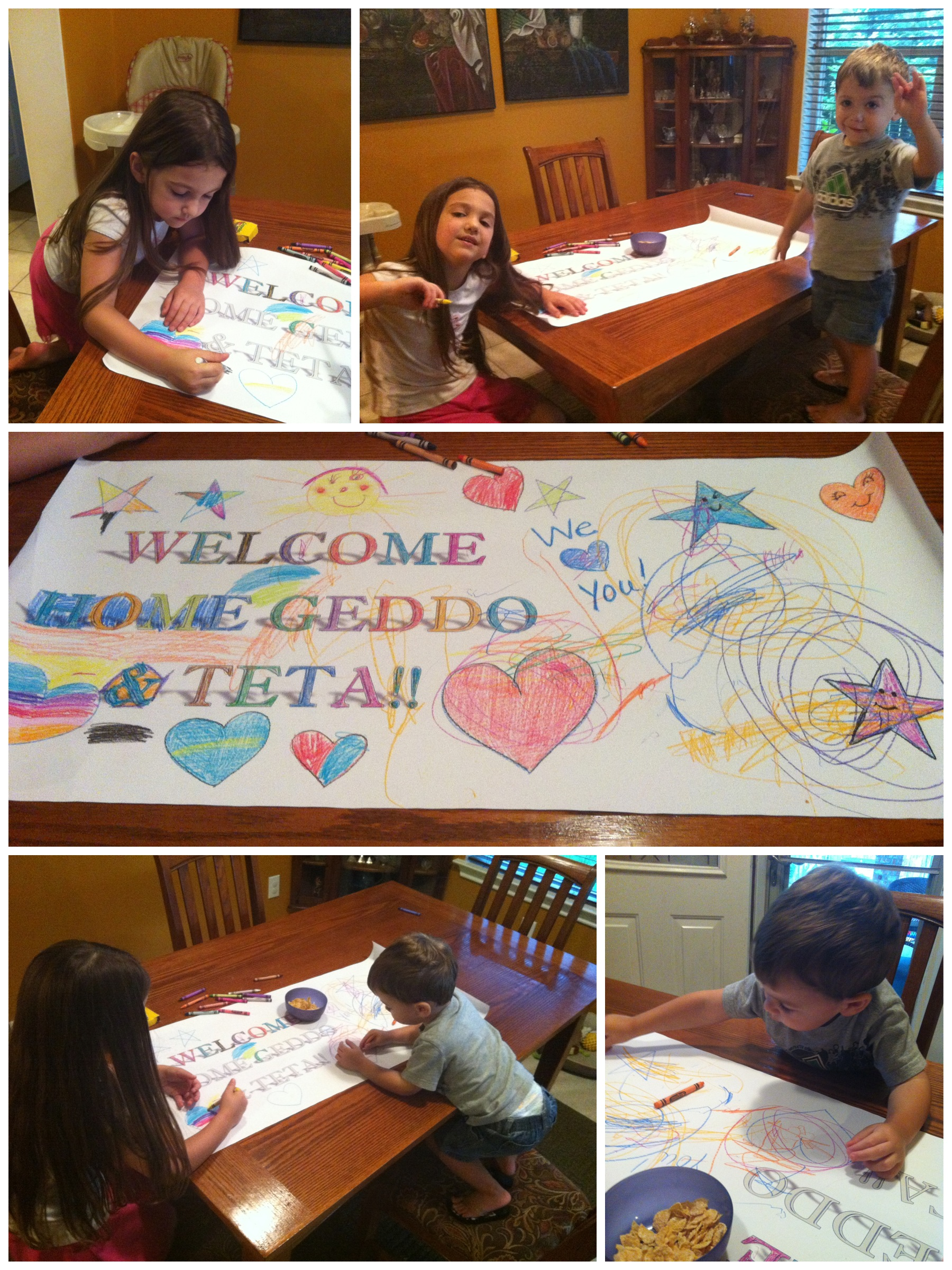 Made a welcome home sign to greet Geddo & Teta! Can ya tell what the 2 year old's handiwork??