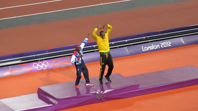 Mo Farah (GB) and Usain Bolt (JAM)