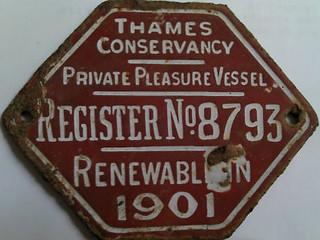 1900 THAMES CONSERVANCY PLEASURE VESSEL LICENSE PLATE