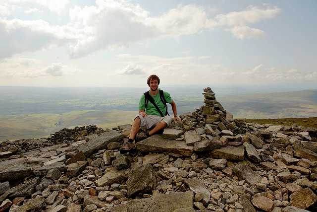 The cairn marking the highest peak of the Ingleborough Plateau, Yorkshire dales