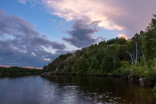 trees sunset ontario canada reflection water clouds sudbury coniston lakelaurentain