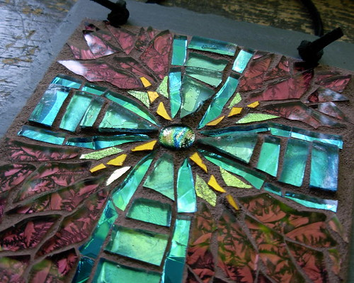 Radial Cross in Blue and Maroon by Margaret Almon