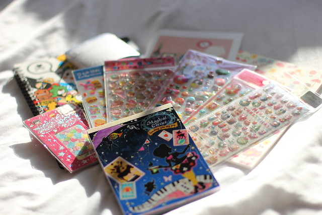 stickers and notebooks