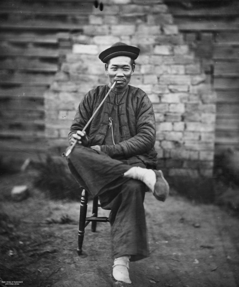 Chinese miner in traditonal clothing, ca. 1900