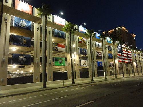Wall of flags on parking garage