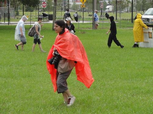 Rain ponchos were standard