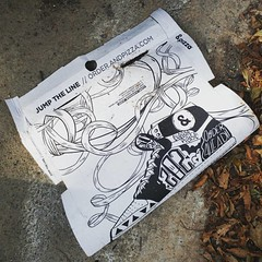 When you see your friends @kellytowles #art on an @andpizza box littering your hood. #jumptheline (yes, I picked it up & recycled it)