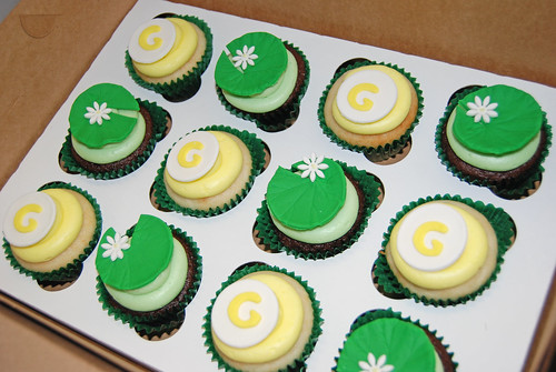 life celebration cupcake tower cupcakes - lily pads and monogram