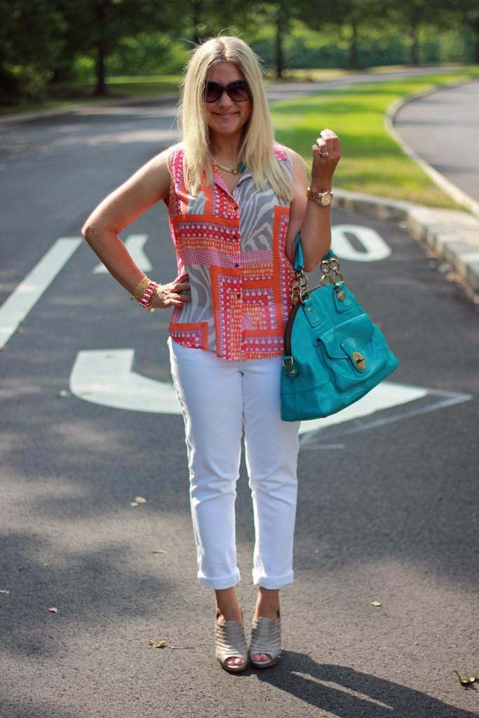 scarf print blouse casual summer outfit